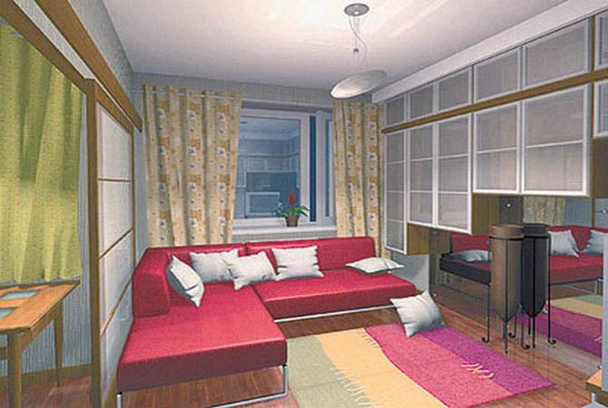 дизайн однокомнатной квартиры и кухни фото