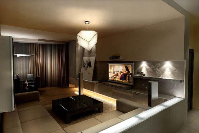 дизайн проект зала квартиры