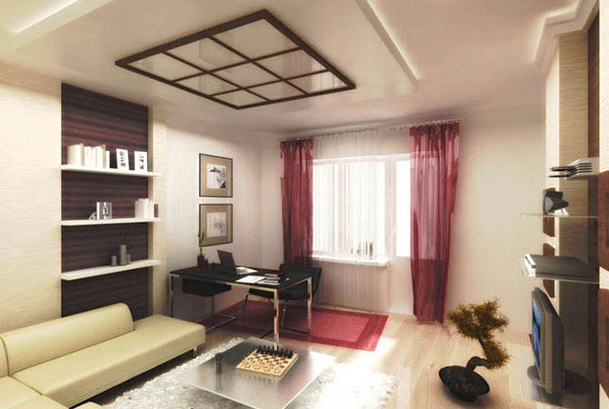 подвесные потолки дизайн площадь комнаты 18 метров