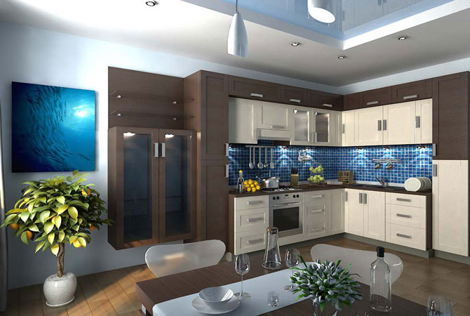 интерьер комната с кухней