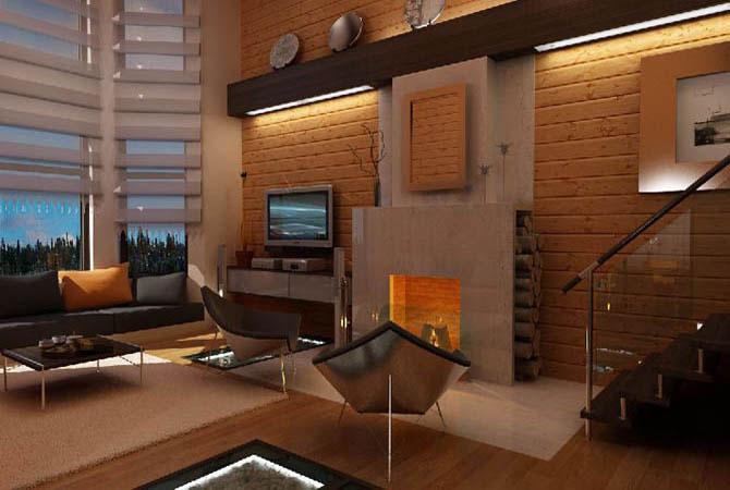 дизайн кухни и комнаты в совмешенном варианте