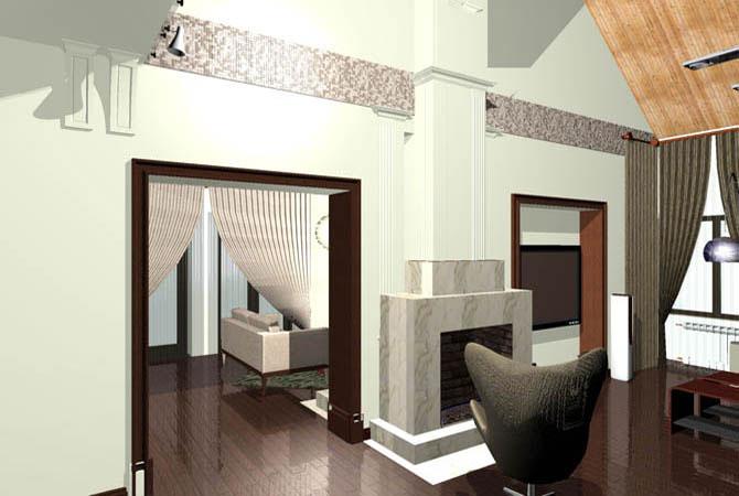 дизайн интерьеров загородных домов ручной графике